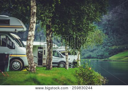 Scenic RV Park Camping. Lakefront Campsite. Vacation in Recreational Vehicle poster