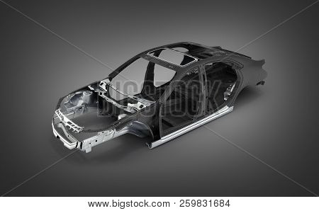 Carbon Body Car With Metal Elements Isolated On Black Gradient 3d Illustration