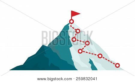Mountain Climbing Route To Peak In Flat Style. Business Journey Path In Progress To Success Vector I