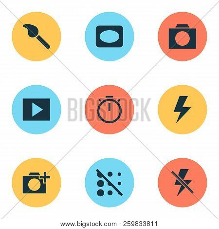 Image Icons Set With Circle, Vignette, Timer And Other Paintbrush Elements. Isolated Vector Illustra