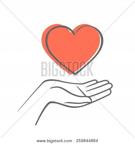 Hand Giving Love Symbol. Hand Draw Vector Icon With Heart