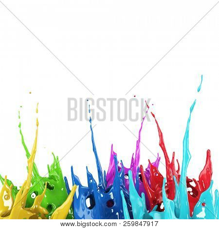 Colorful paint splash creative background. Color paint mix splattered. 3D rendering.