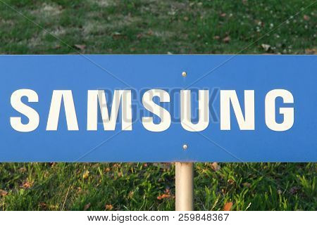 Dortmund, Germany - July 21, 2017:  Samsung Sign On A Panel. Samsung Is A South Korean Multinational