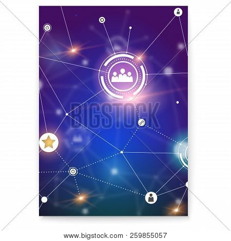 Poster With Social Network. Scheme On Communication Technology In Social Network. Global Symbols Of