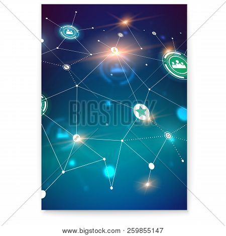 Poster With Social Network, Perspective View Of Scheme On Communication Technology In Social Network