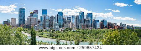 Skyline Of The City Calgary, Alberta, Canada Along The Bow River