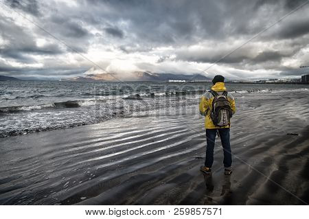 Tourist Well Equipment Ready Explore Scandinavian Or Nordic Country. Tourist On Sea Background. Man