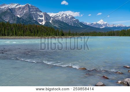 Along The Turquoise Water Of The Bow River In Jasper National Park, Alberta, Canada