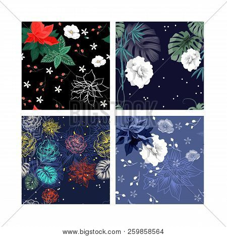 Set Of Beautiful Wallpaper With Flower Ornament