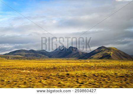 Highlands Of Iceland Concept. Haukadalur Valley In Iceland. Beautiful Landscape In Valley. Peaceful