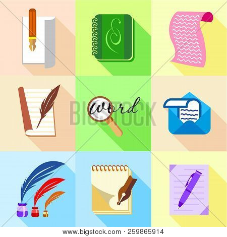 Letter Icons Set. Cartoon Set Of 9 Letter Vector Icons For Web Isolated On White Background