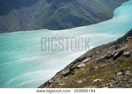 Besseggen Ridge Over Beautiful Blue Gjende Lake In Jotunheimen National Park, Norway