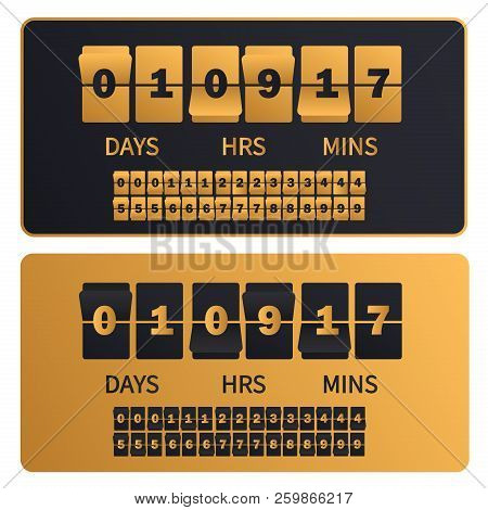 Luxury Golden Countdown Clock Digits Board New Year, Christmas Or Shopping Sale Timer. Rich Gold Num
