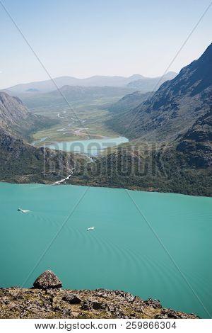 Aerial View Of Besseggen Ridge Over Gjende Lake In Jotunheimen National Park, Norway