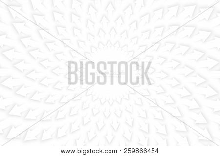 Vector White 3d Arrows With Soft Shadow Spiral Radial Composition Diverging In Outward Direction Abs
