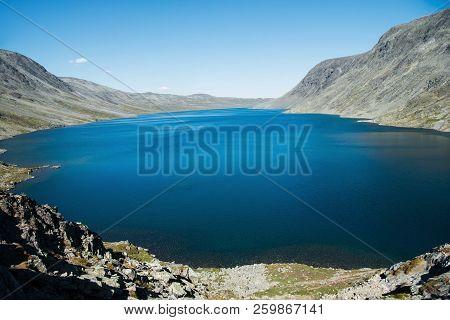 Majestic Blue Gjende Lake, Besseggen Ridge, Jotunheimen National Park, Norway