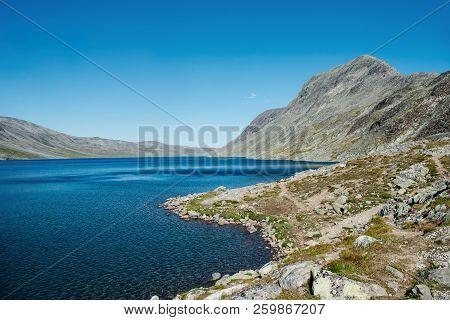Landscape With Gjende Lake, Besseggen Ridge, Jotunheimen National Park, Norway
