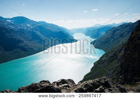 Majestic Landscape With Gjende Lake, Besseggen Ridge, Jotunheimen National Park, Norway