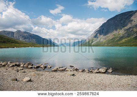 Summer Landscape With Gjende Lake, Besseggen Ridge, Jotunheimen National Park, Norway