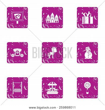 Serenity Icons Set. Grunge Set Of 9 Serenity Vector Icons For Web Isolated On White Background