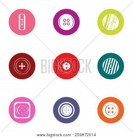 Pushbutton Icons Set. Flat Set Of 9 Pushbutton Vector Icons For Web Isolated On White Background