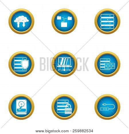 Data Stronghold Icons Set. Flat Set Of 9 Data Stronghold Vector Icons For Web Isolated On White Back