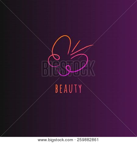 Doodle Butterfly, Hand Drawn Butterfly Icon, Beauty Salon Logo, Vector Butterfly Sketch