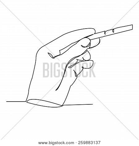 Continuous Single Drawn One Line Pregnancy Test In Hand Hand-drawn Picture Silhouette. Line Art. Doo