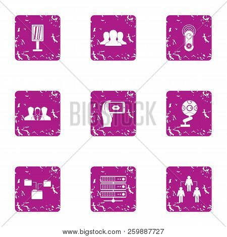 Data Interaction Icons Set. Grunge Set Of 9 Data Interaction Vector Icons For Web Isolated On White