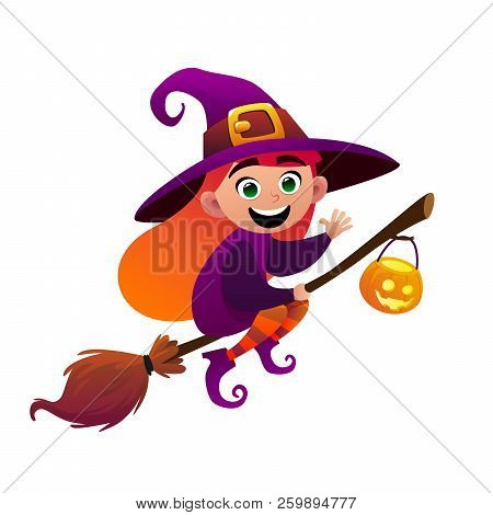 A Little Witch Flies On Broom On White Background Vector