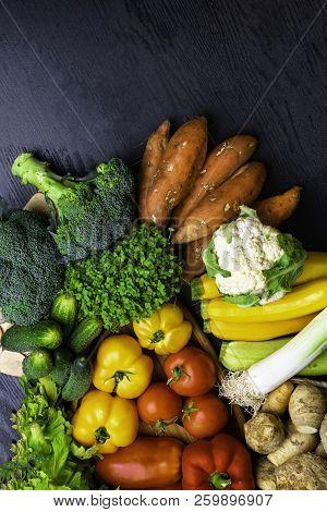 Mix Of Fresh Health Color Vegetables Food, Vegetarian