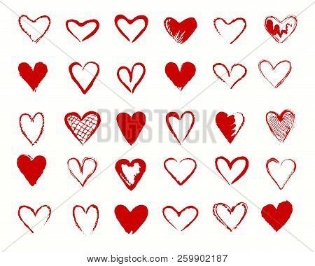 Hearts Drawing. Vectors Valentines Heart Shapes Vector Icons, Loving Hearted Lovely Handdrawn Red Si