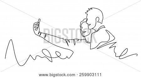 Continuous One Line Drawing Of Selfie Lover Couple. Vector Illustration Portrait Character Of Young