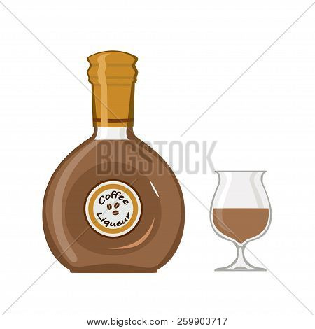 Bottle Coffee Liqueur With Glass, Isolated On White Background
