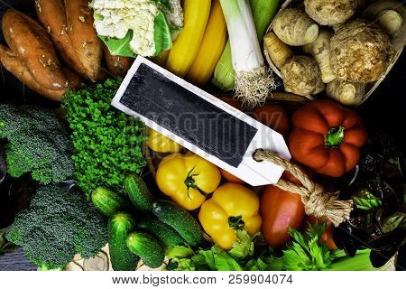 Different Raw Vegetables Background.healthy Eating. Free Space For Text