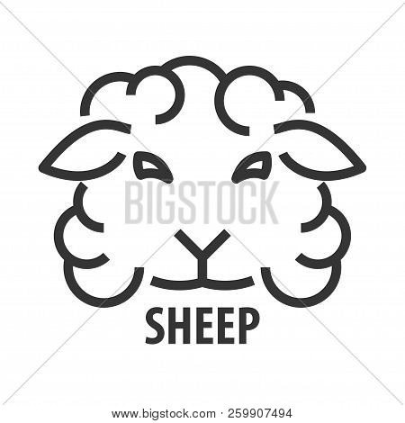 Minimalist Bold Line Icon Of Not Clipped Sheep. Abstract Logo Template Of Sheep Not Clipped Head. Ve