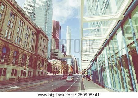 Toronto, Canada - September 18, 2018: City Street Building View, Toronto, Ontario, Canada.