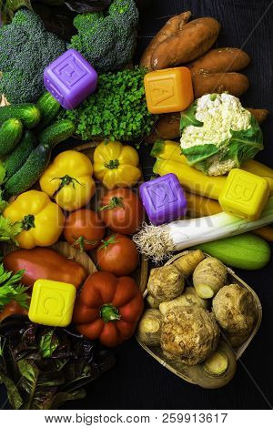 Different Organic Raw Vegetables Background. Healthy Eating Concept Rich With Vitamins And Fiber