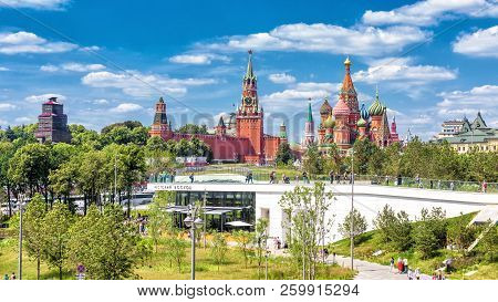 Moscow - June 17, 2018: Scenic Panorama Of Zaryadye Park Overlooking St Basil`s Cathedral And Moscow