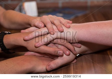 Several Hands Agree On Each Other - Close-up Symbolic Connection