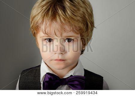 Fashionable Little Boy In Bow Tie. Stylish Kid. Cute Solemn Little Boy Wearing Bow Tie. Small Stylis