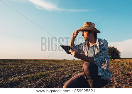 Farmer Agronomist With Tablet Computer In Bare Empty Field In Sunset, Serious Confident Man Using Mo