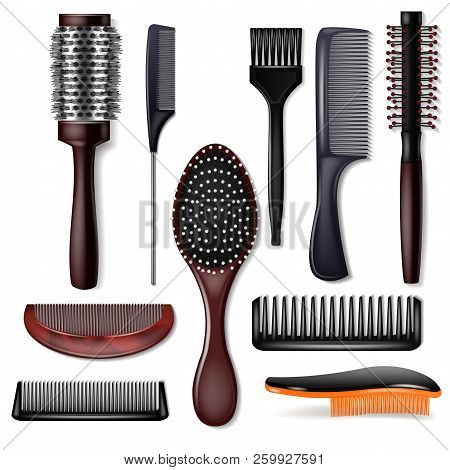 Hair Brush Vector Hairstyling Comb Or Hairbrush And Haircare Accessory In Barber Salon Illustration