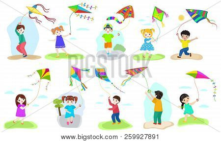 Kids Kite Vector Child Character Boy And Girl Playing Childly Kiteflying Activity Illustration Set O