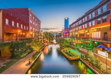 Oklahoma City, Oklahoma, USA cityscape in Bricktown at dusk.