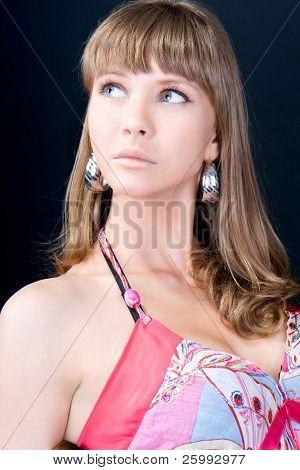 Fashion woman portrait with a hispanic looking, studio shot