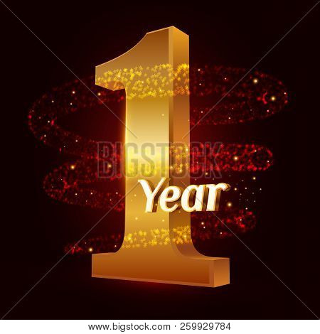 1 Year Golden Anniversary 3d Logo Celebration With Gold Glittering Spiral Star Dust Trail Sparkling