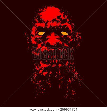 Angry Red Ghoul Face. Genre Of Horror. Vector Illustration.