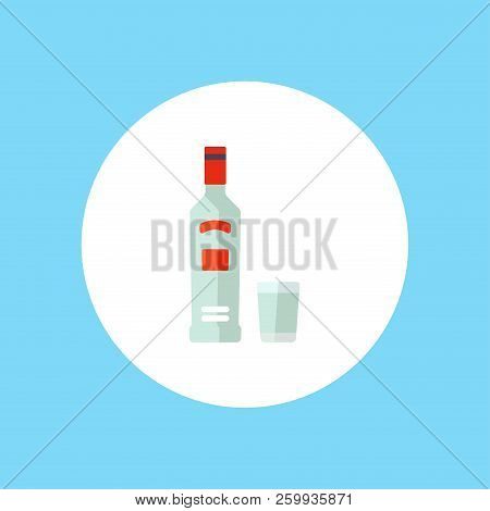 Glass Bottle Of Vodka Icon In Outline Style Isolated On White Background. Russian Country Symbol Sto
