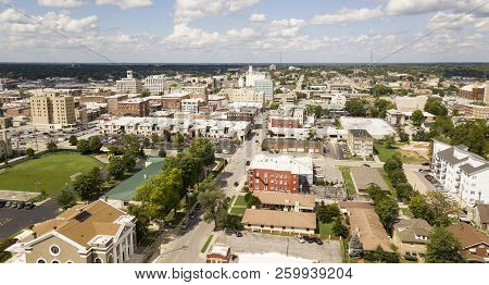 The Downtown City Skyline And Buidlings Of Sprigfield Mo Under Partly Cloudy Skies Aerial Perspectiv